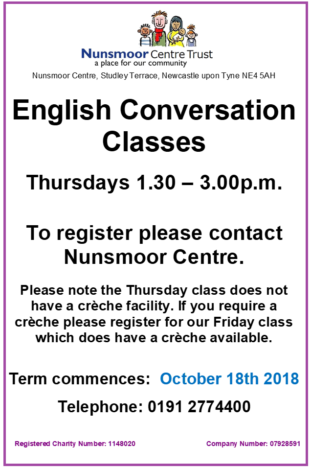 English Classes FRIDAYS Oct 2018